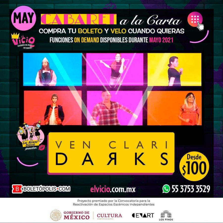 Postal Ven ClariDarks, espectáculo para CabareZoom con Las Reinas Chulas