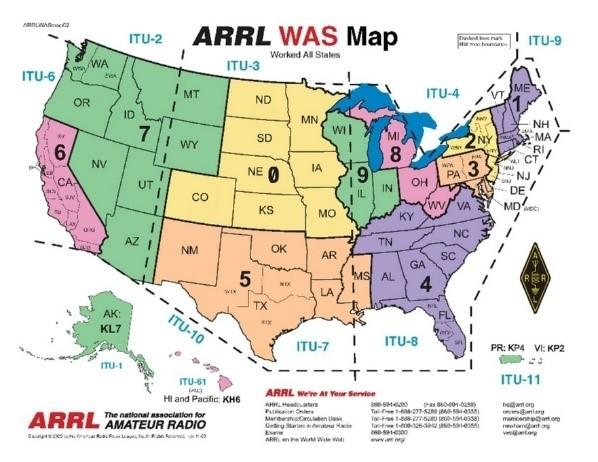 ARRL WAS MAP