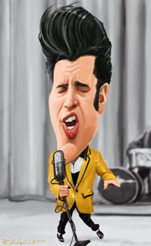 Caricature of Elvis on television 1956 by RK+K.