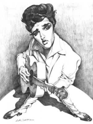 Caricature f Elvis circa 1956 by Dan S.