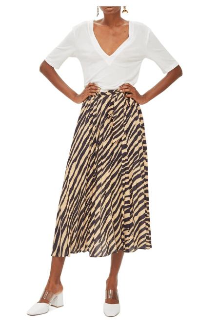 Zebra Print Pleated Midi Wrap Skirt, Main, color, BLACK MULTIZebra Print Pleated Midi Wrap Skirt, Main, color, BLACK MULTI (4) Zebra Print Pleated Midi Wrap Skirt