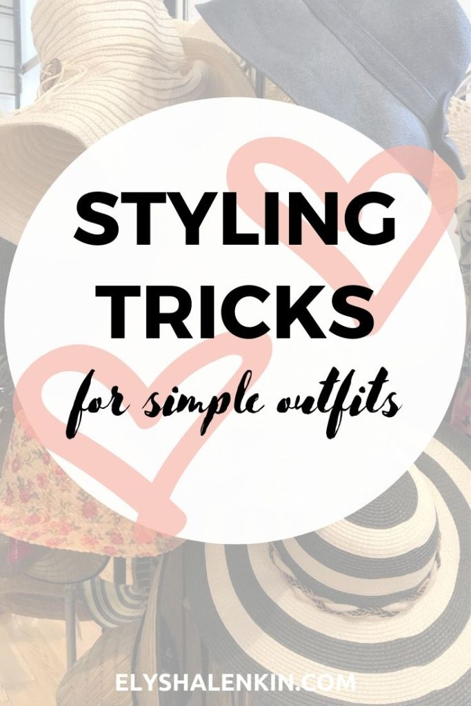Styling Tricks for simple outfits. Hats on a rack. One has flower pattern. Another is black and white striped. One is denim.