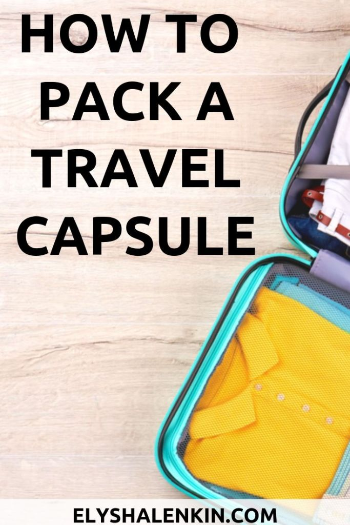 How to pack a travel capsule with suitcase showing colorful clothing.