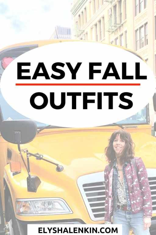 Easy fall outfits text overlay image of woman standing in fall outfit