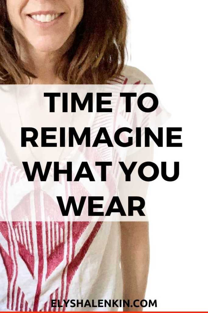Time to reimagine what you wear text overlay image of women wearing red printed shirt.