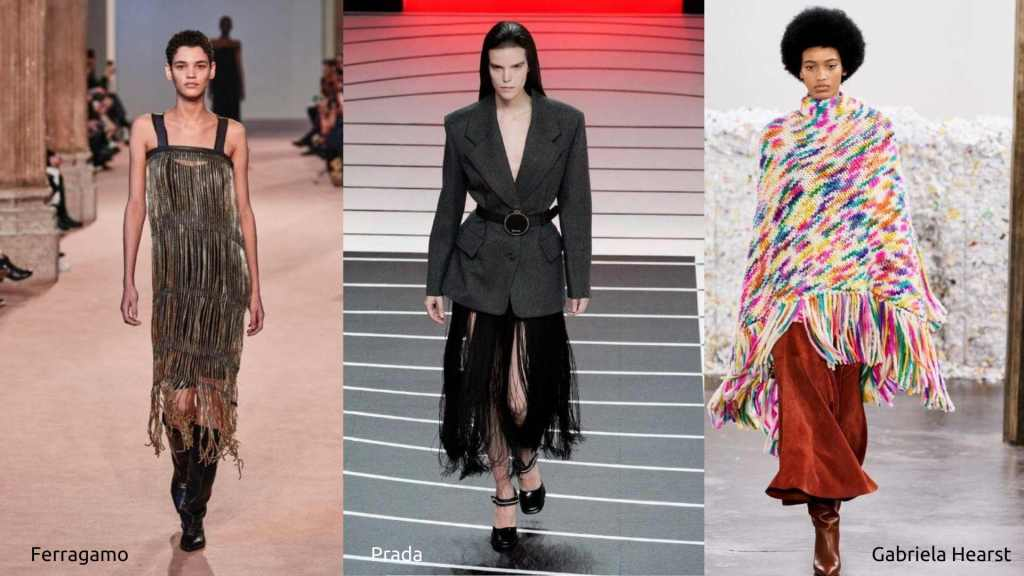 Runway styles showing fringe from Ferragamo, Prada and Gabriela Hearst.