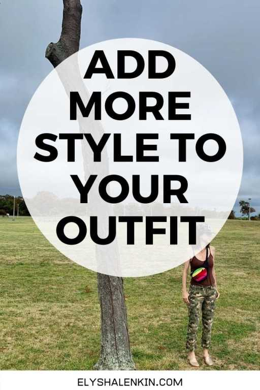 Add more style to your outfit text overlay women standing wearing camouflage pants