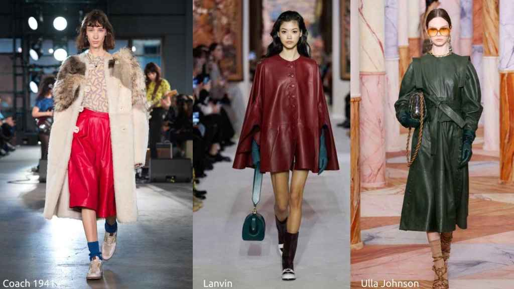 Runway styles showing colored leather from Coach, Lanvin and Ulla Johnson.
