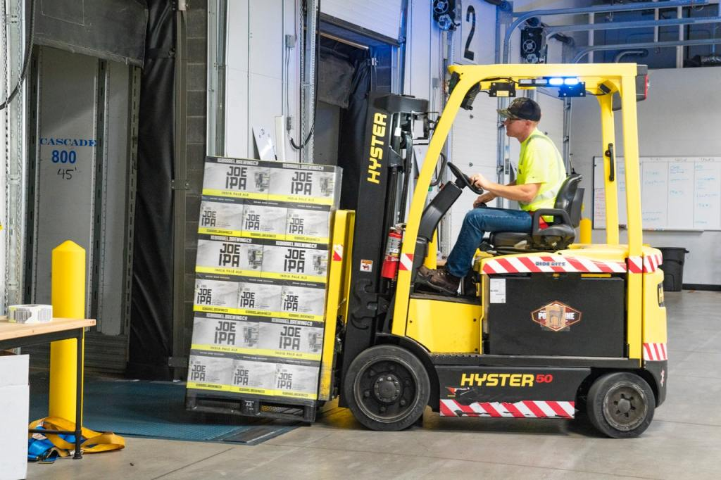 Yellow Forklift with IPA boxes