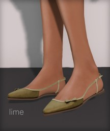Line pointy flats - lime