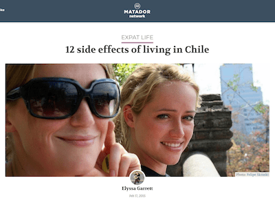 12 girls smiling, text above image says 12 side effects of living in Chile