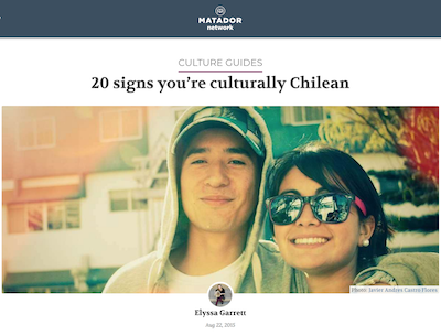 a young man and woman pose together, text above image reads 20 signs you're culturally Chilean