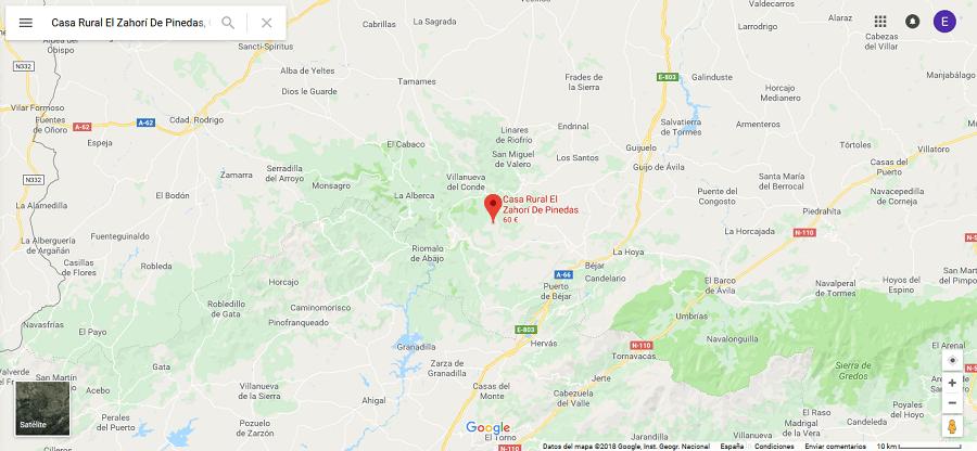 Mapa con la ubicación de Pinedas