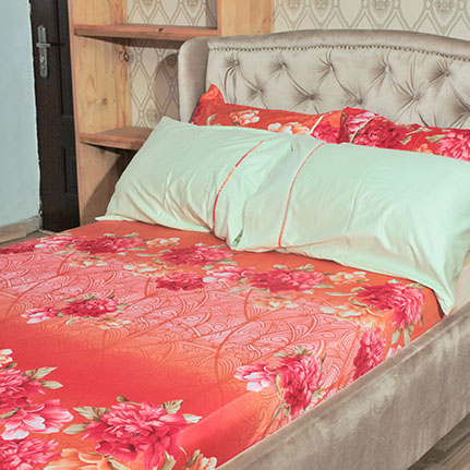 multi colored coral floral bedsheet with 4 pillow cases elzaphan