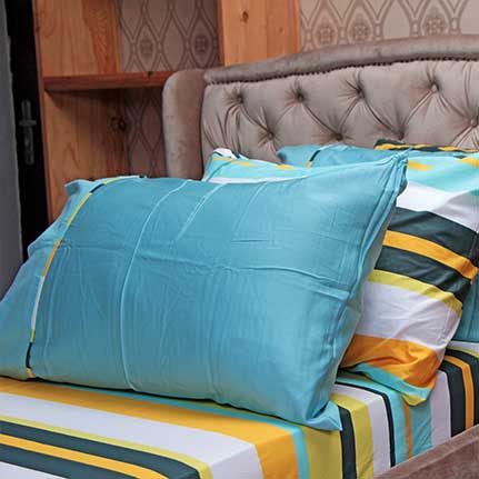 bright colored striped bedsheet with 4 pillow cases elzaphan
