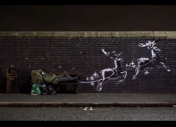 mural navideño de Banksy