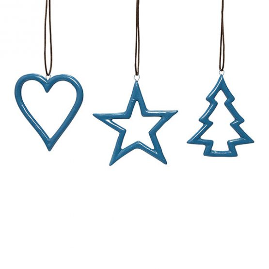 Blue Ceramics Star Heart Christmas Tree Hanging Christmas Decoration By Hubsch