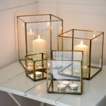 Large Antique Brass And Glass Hurricane Candle Holder Lantern By Nkuku