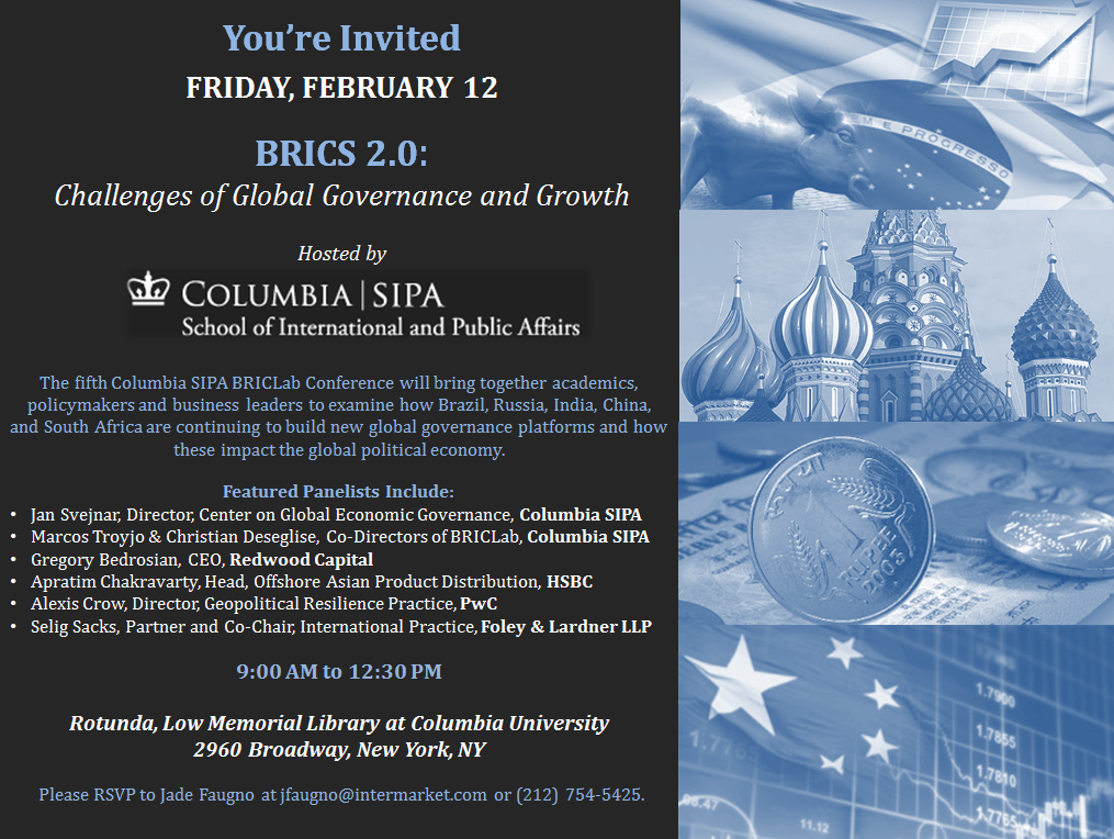 Featured Event: BRICS 2.0, Columbia University - Emerging Market Views
