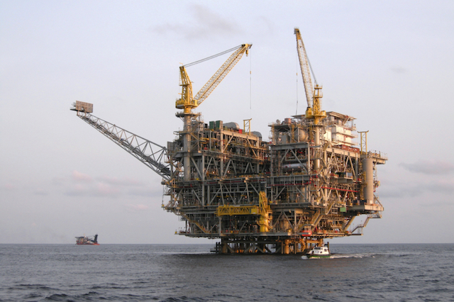 An oil platform off the coast of Angola, West Africa