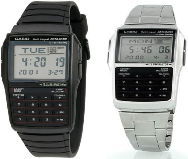 Casio Mens 25 Page Databank 8 Digit Calculator With Led Light Watch Dbc32