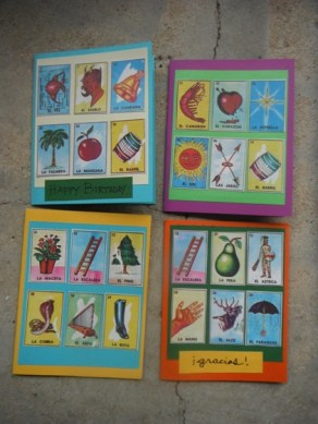 Item#037 - Four blank note cards - Loteria (Mexican Bingo) - featuring authentic loteria cards from Guatemala City.