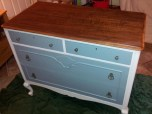 new old dresser - finished original top, and painted bottom