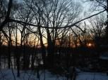 snowy sunrise on mill creek