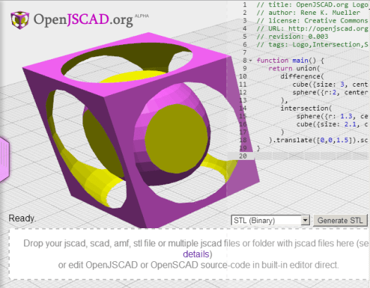 screenshot of OpenJSCAD