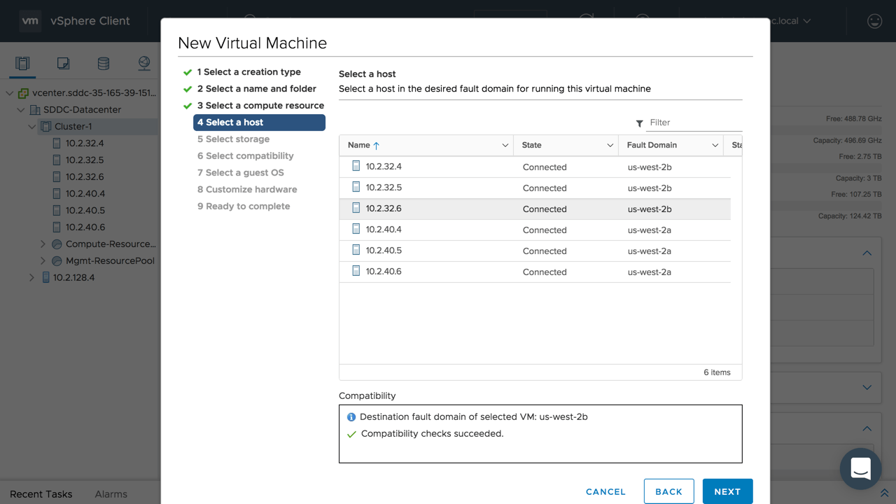 Stretched Clusters for VMware Cloud on AWS - VM Deployment