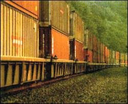 Containerized rail shipping is very energy efficient, but it's increasingly losing ground to pollution-intensive interstate trucking.