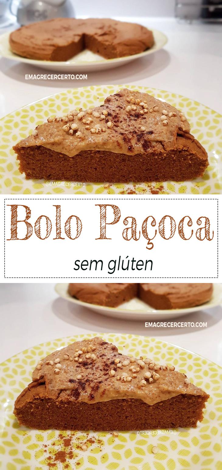 Bolo Paçoca sem glúten do blog EmagrecerCerto.com