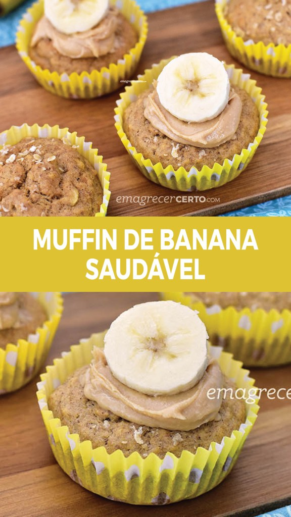 Muffin de Banana com Especiarias Termogênicas   Blog Emagrecer Certo #reeducacaoalimentar #emagrecercerto #receitasaudavel #muffindebanana