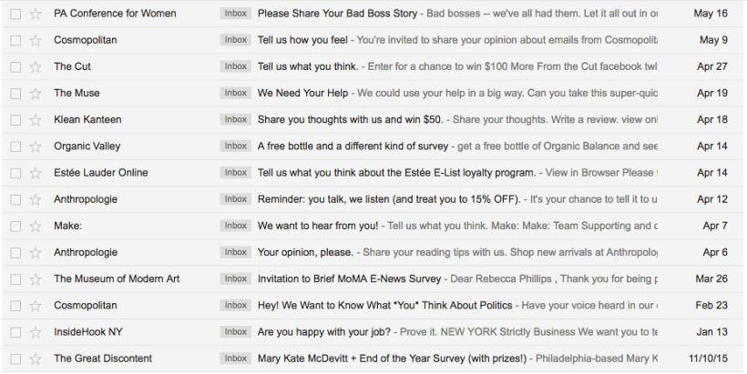 Inbox Survey Invitation Emails