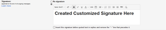 Gmail Create Customized Signature