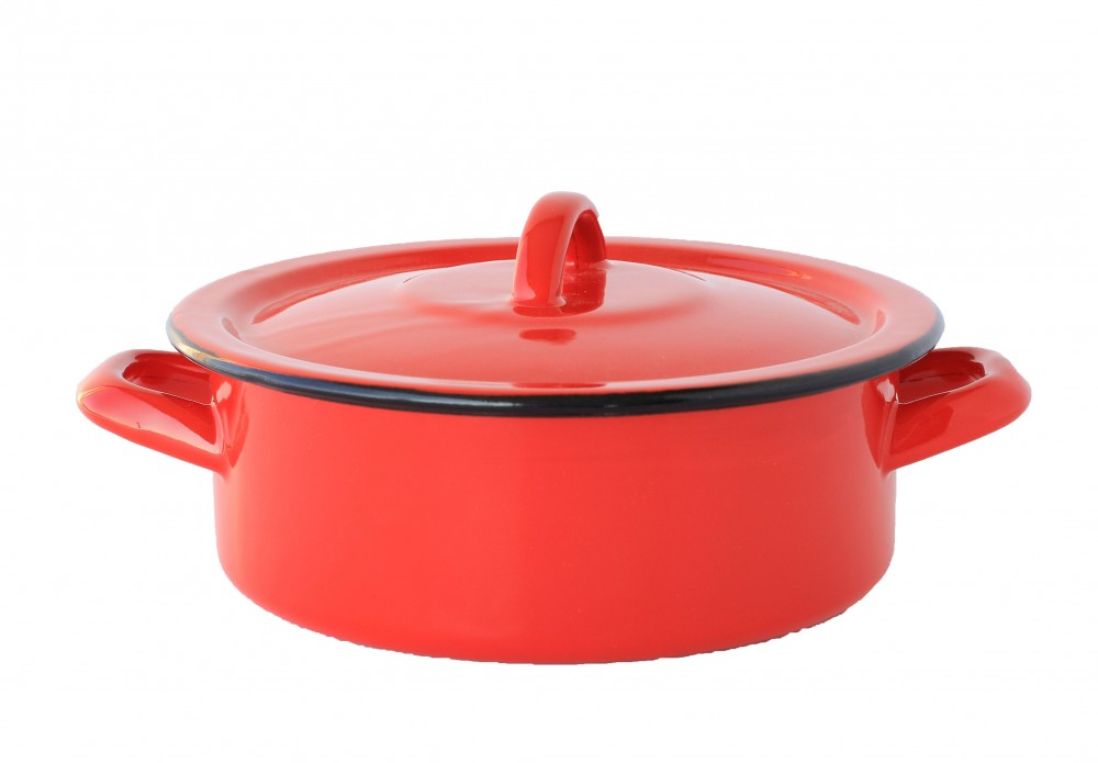 Emaille Topf 18 cm 1,5 L Rot - Emaille Webshop