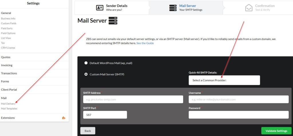 Jetpack CRM Email Campaigns SMTP settings