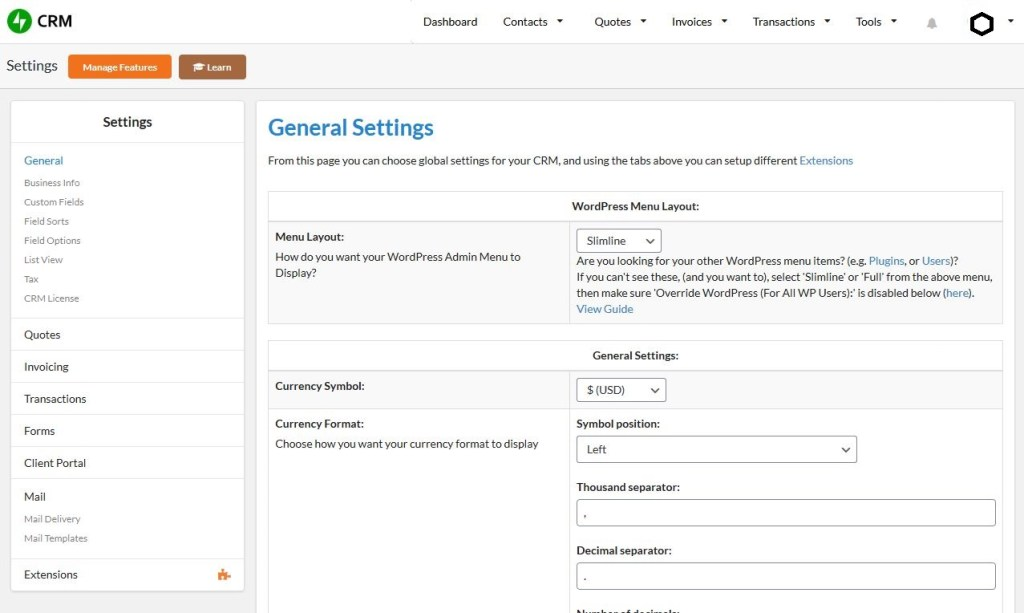 Jetpack CRM admin dashboard settings page