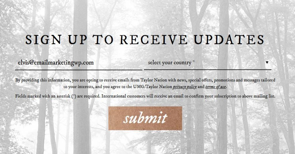 Taylor Swift subscription form