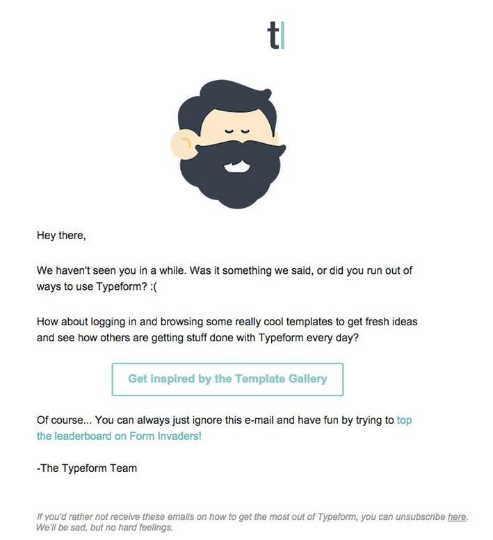 example of type form inactive subscriber email
