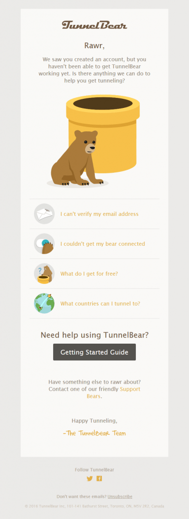 Tunnelbear Re-engagement Email