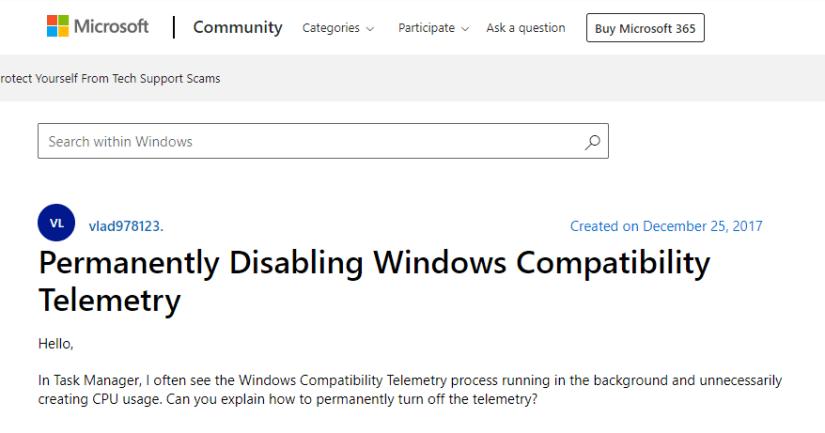 Windows Compatibility Telemetry