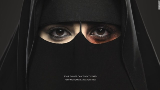 """The ad of the first anti-domestic violence campaign titled """"Some Things Can't be Covered"""". (CNN)"""