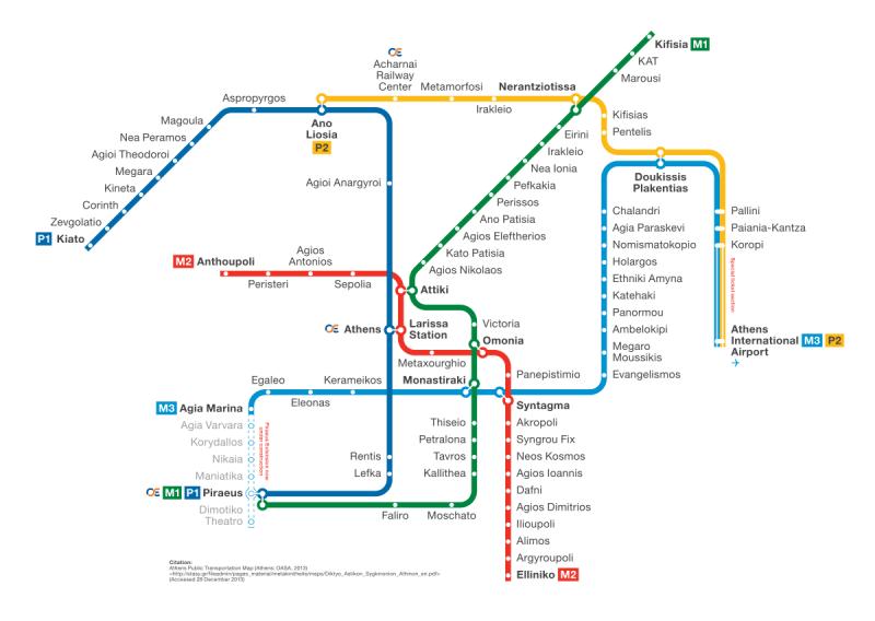 Χάρτης Μετρό Αθηνών