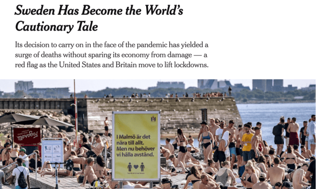 Multiple errors in the New York Times article about Sweden's corona strategy