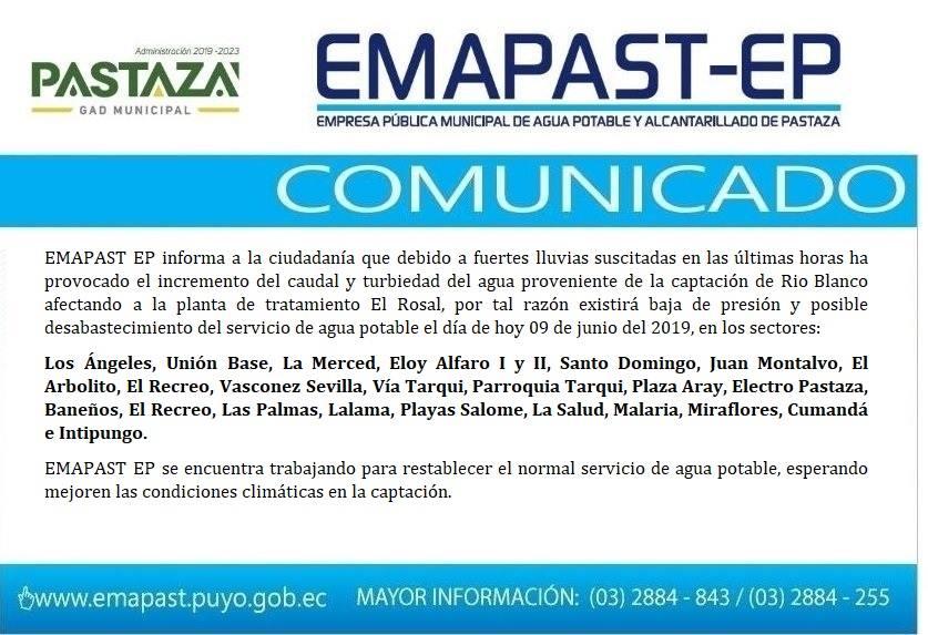 EMAPAST EP Informa A La Ciudadanía Que Debido A Fuertes