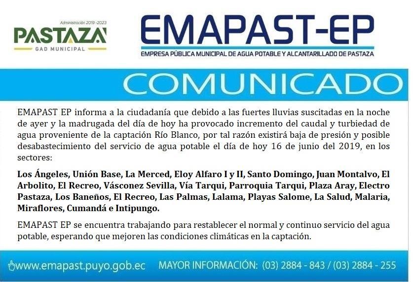 EMAPAST EP Informa A La Ciudadanía Que Debido A Las
