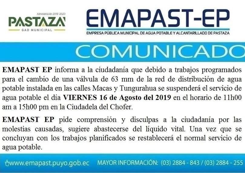|#Comunicado| EMAPAST EP Informa A La Ciudadanía