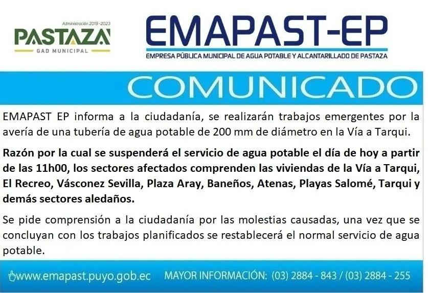 EMAPAST EP Informa A La Ciudadanía, Se Realizarán Trabajos Emergentes