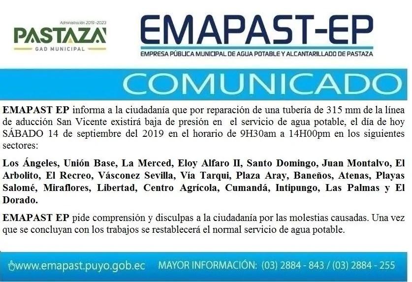 #Comunicado# EMAPAST EP Informa: